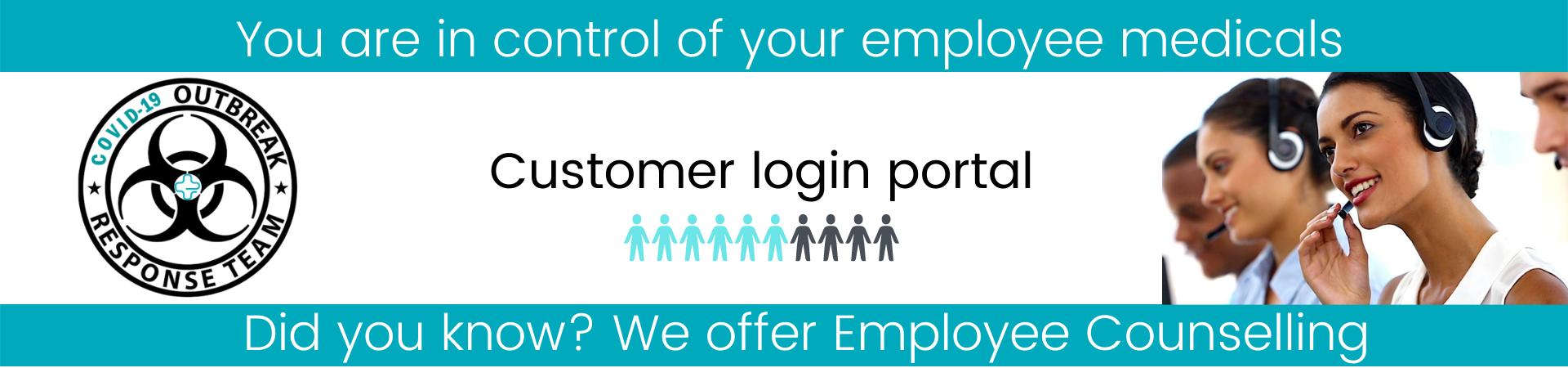 Customer login portal